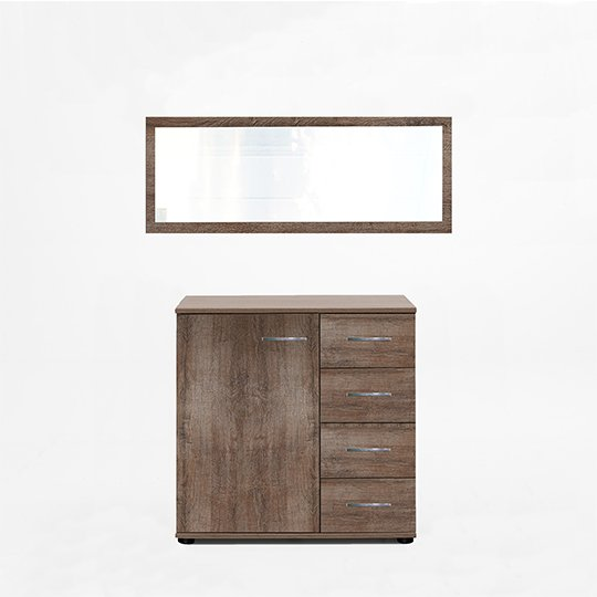 Monoceros Dressing Table In Muddy Oak With Mirror