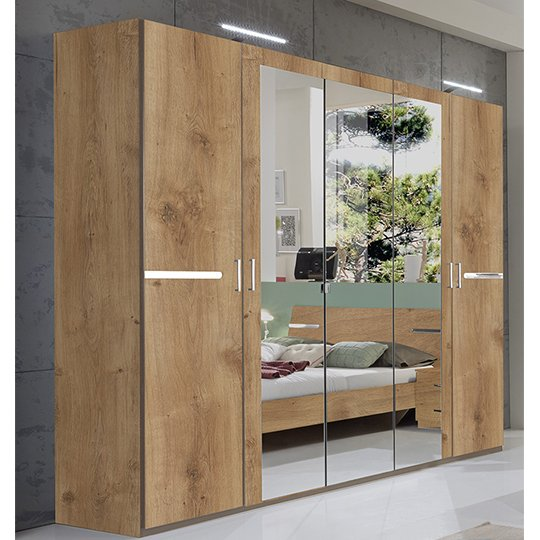 Monoceros Wooden Wardrobe In Antique Oak With 3 Mirrors