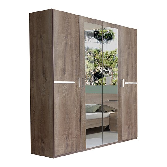 Monoceros Wooden Wardrobe In Muddy Oak With 2 Mirrors