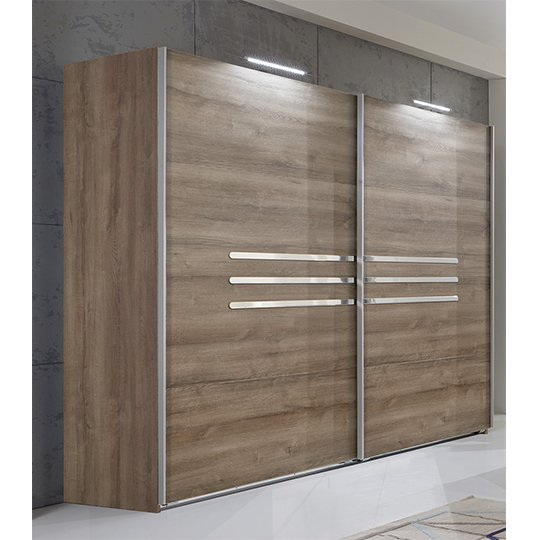 Monoceros Wooden Wardrobe In Muddy Oak With 2 Sliding Doors