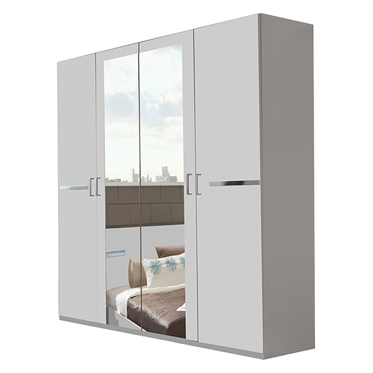 Monoceros Wooden Wardrobe In White With 2 Mirrors