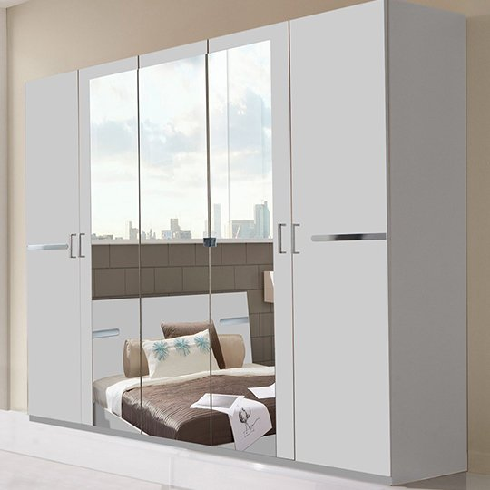 Monoceros Wooden Wardrobe In White With 3 Mirrors