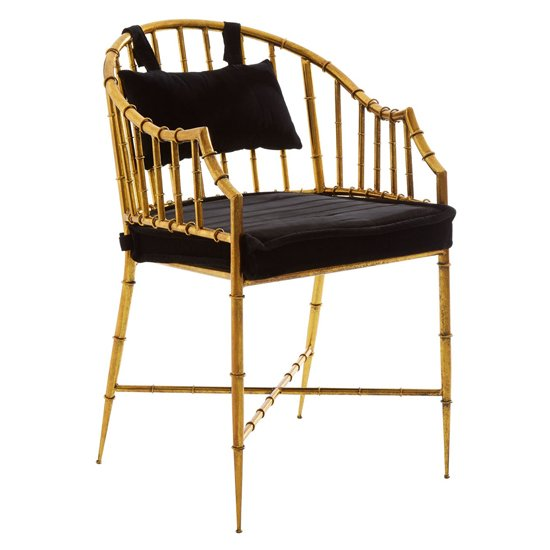 Monora Black Fabric Seat Armchair With Gold Frame