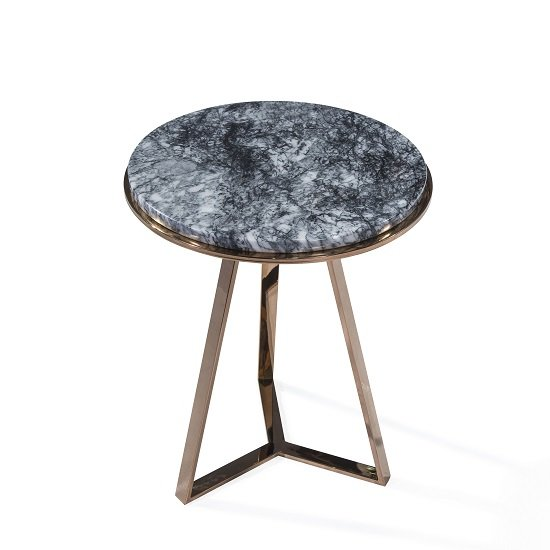 Monrovia Marble Side Table Round In Black With RoseGold Frame