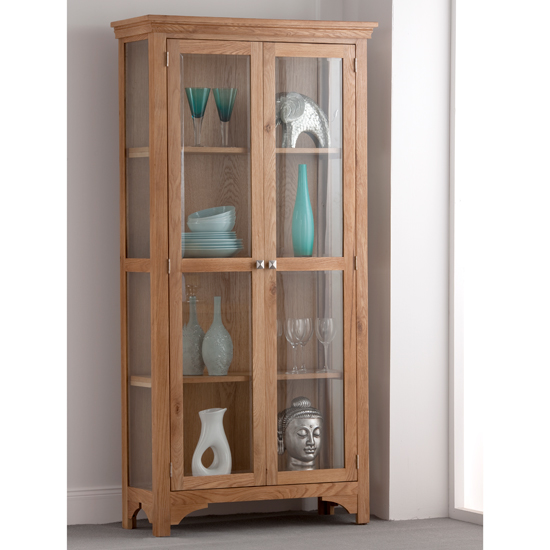 Montana Oak 2 Door Display Cabinet 18602 Furniture In