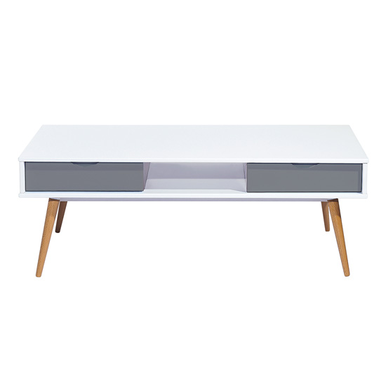 View Montana wooden coffee table in white and grey