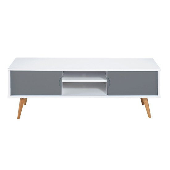 Montana Wooden TV Stand In White And Grey