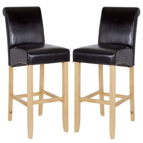 Monte Carlo High Bar Chair In Black PU With Oak Legs In A Pair