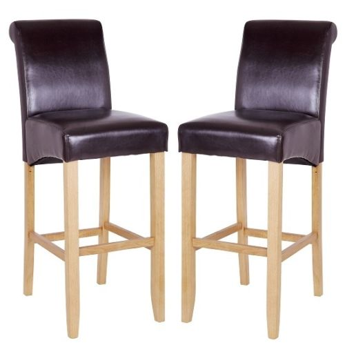 Monte Carlo High Bar Chair In Brown PU With Oak Legs In A Pair