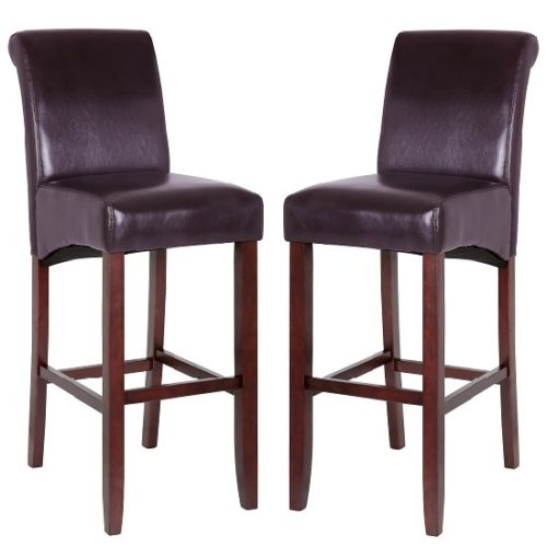 Monte Carlo High Bar Chair In Brown PU With Wenge Legs In A Pair