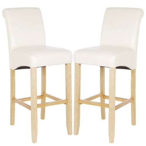 Monte Carlo High Bar Chair In Cream PU With Oak Legs In A Pair