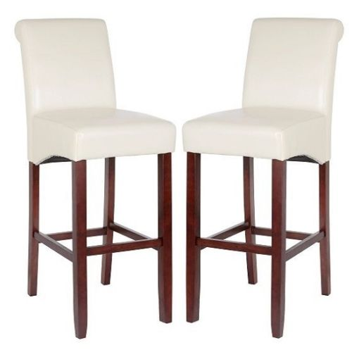 Monte Carlo High Bar Chair In Cream PU With Wenge Legs In A Pair