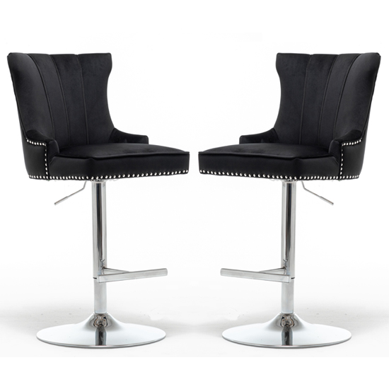 Product photograph showing Monten Black Velvet Gas-lift Bar Chairs In Pair