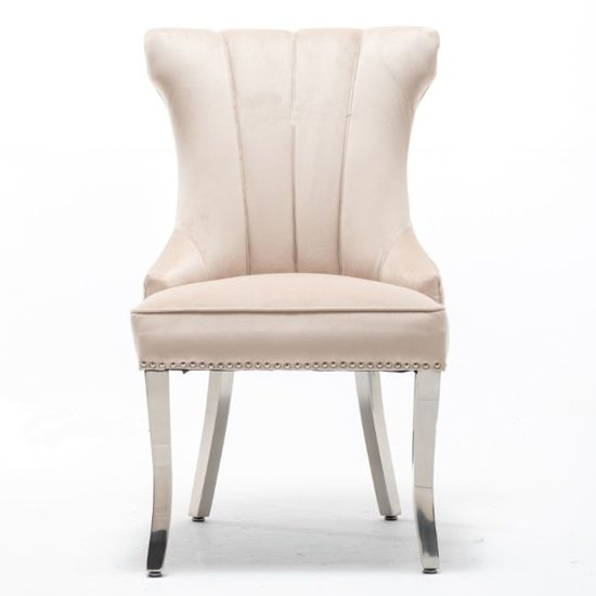 Monten Lion Knocker Cream Velvet Dining Chairs In Pair_2