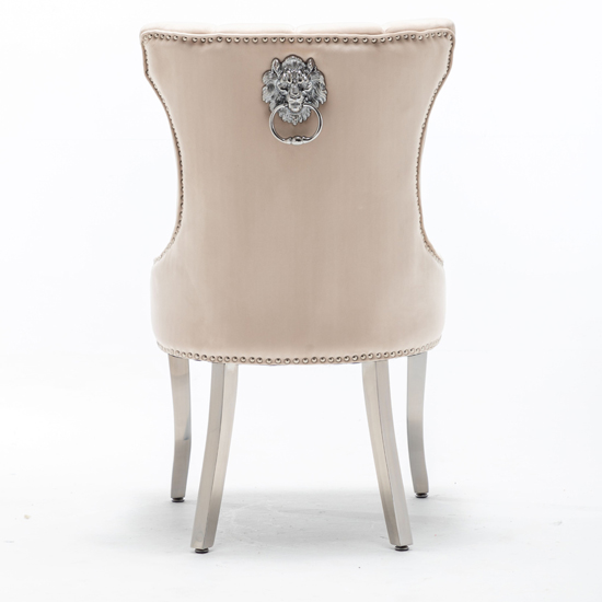 Monten Lion Knocker Cream Velvet Dining Chairs In Pair_4