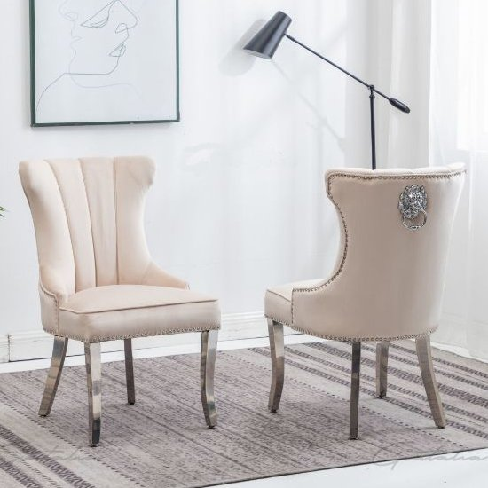 Monten Lion Knocker Cream Velvet Dining Chairs In Pair_1
