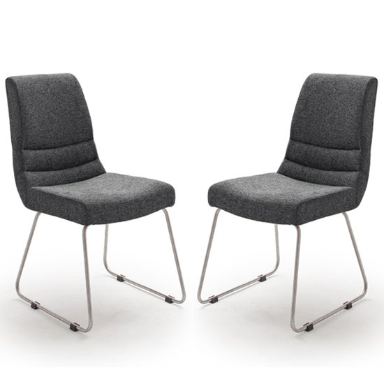 Montera Anthracite Fabric Cantilever Dining Chairs In Pair
