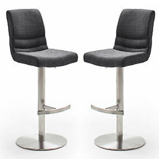 Montera Anthracite Gas Lift Bar Stool With Steel Base In Pair