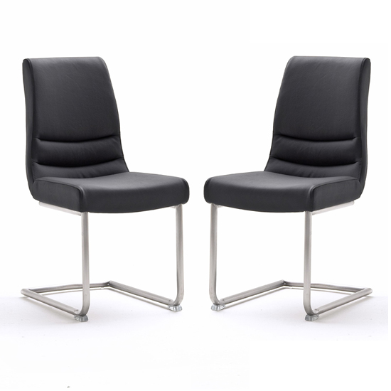 Montera Black Leather Dining Chairs In Pair_1