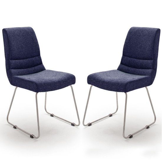 Montera Blue Fabric Cantilever Dining Chairs In Pair