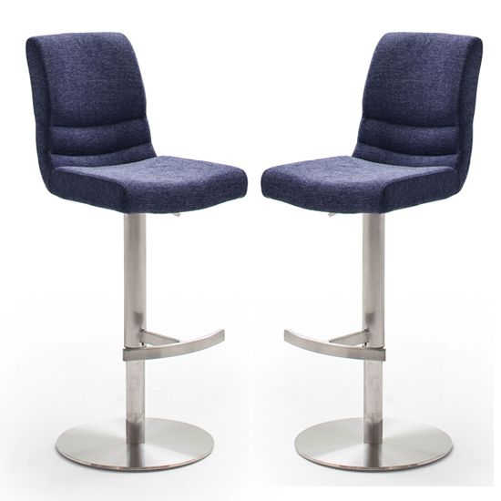 Montera Blue Gas Lift Bar Stool In Pair With Steel Base