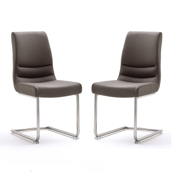 Montera Brown Leather Dining Chairs In Pair