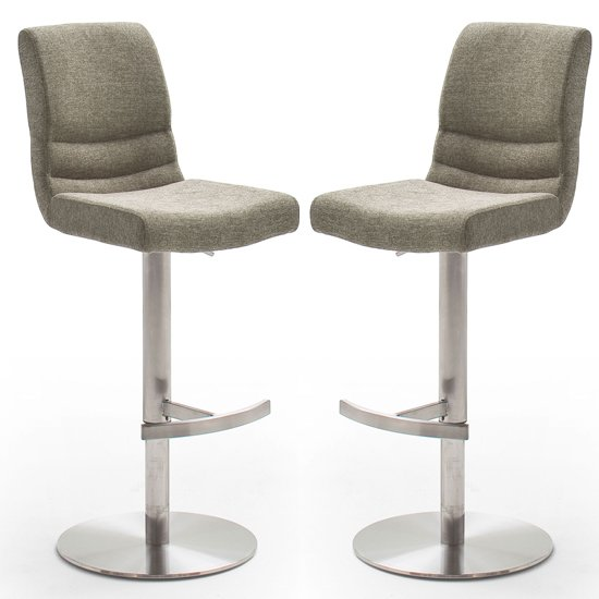 Montera Cappuccino Gas Lift Bar Stool With Steel Base In Pair