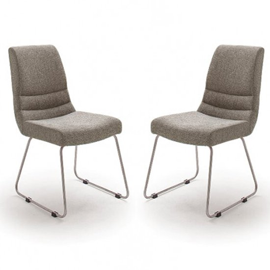Montera Cappuccino Fabric Skid Dining Chairs In Pair