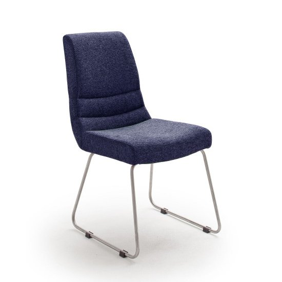 Montera Fabric Cantilever Dining Chair In Blue