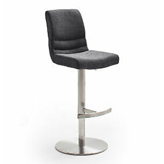 Montera Gas Lift Bar Stool In Anthracite With Steel Base