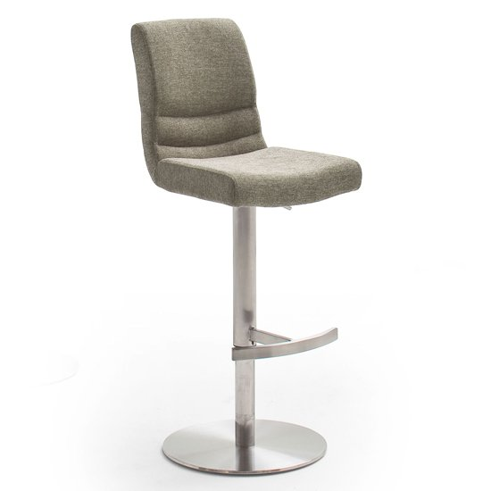 Montera Gas Lift Bar Stool In Cappuccino With Steel Base