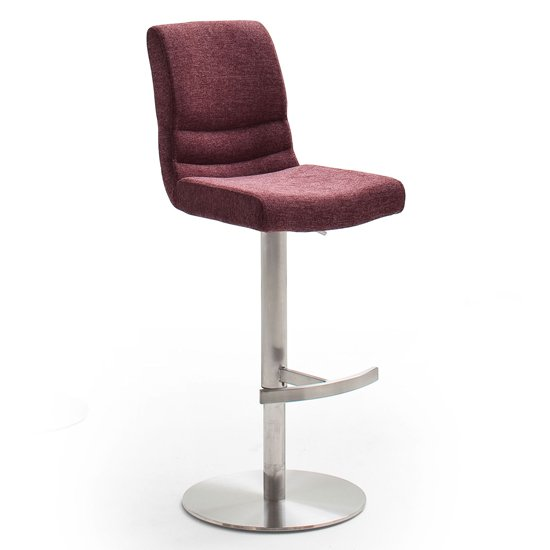 Montera Gas Lift Bar Stool In Merlot With Stainless Steel Base