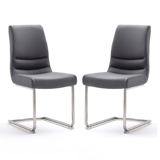 Montera Grey Leather Dining Chairs In Pair