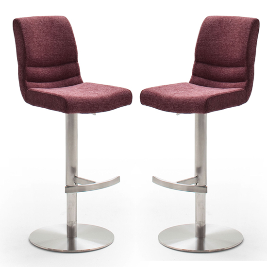 Montera Merlot Gas Lift Bar Stool With Steel Base In Pair
