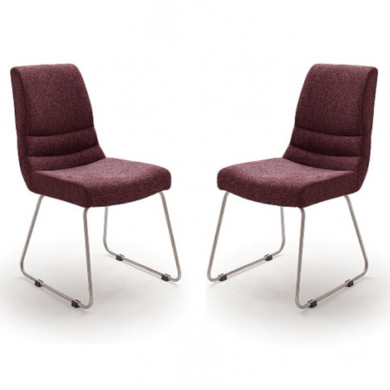 Montera Merlot Fabric Skid Dining Chairs In Pair