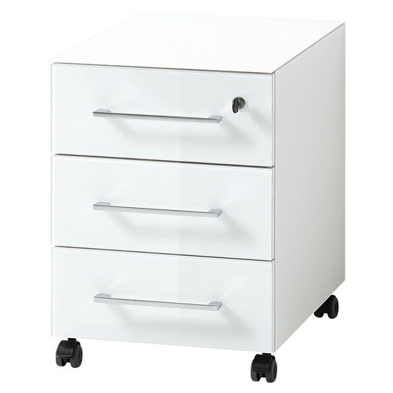Monteria Rolling Container With Drawers In White High Gloss