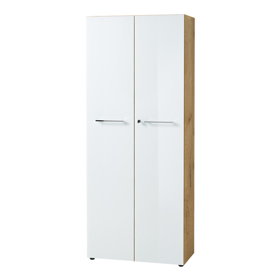 Monteria Tall Filing Cabinet In Navarra Oak And White High Gloss