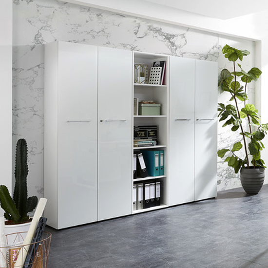 Monteria Tall Filing Cabinet In White High Gloss_3