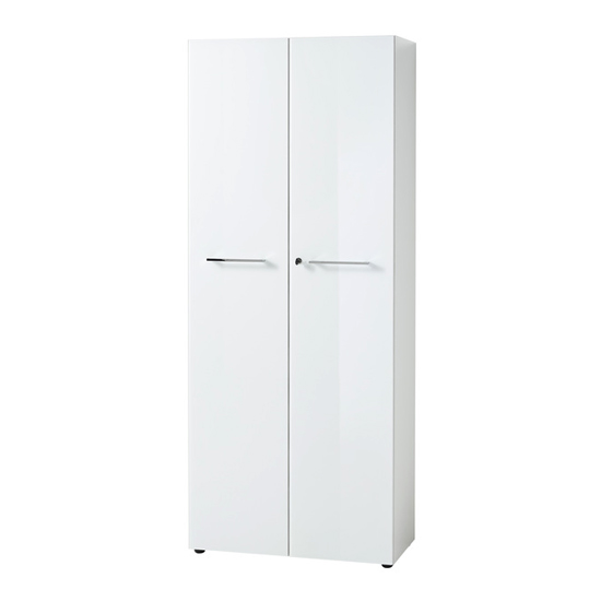 Monteria Tall Filing Cabinet In White High Gloss