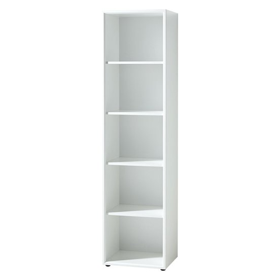 Monteria Tall Shelving Unit In White High Gloss