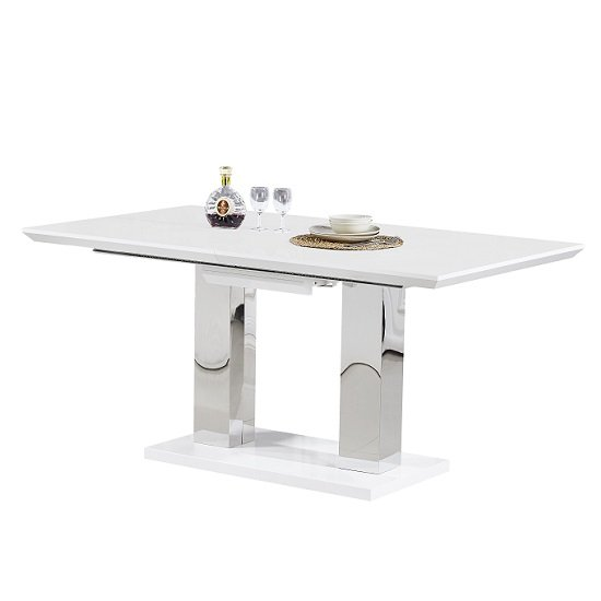 Monton Modern Extendable Dining Table In White High Gloss Only_1