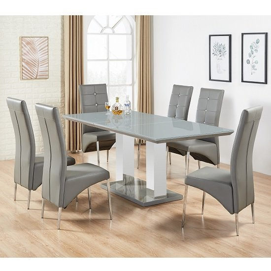 Product photograph showing Monton Grey Glass Extendable Dining Table And 6 Dining Chairs