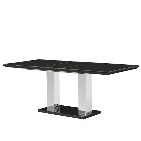 Monton Glass Extendable Dining Table With Black High Gloss