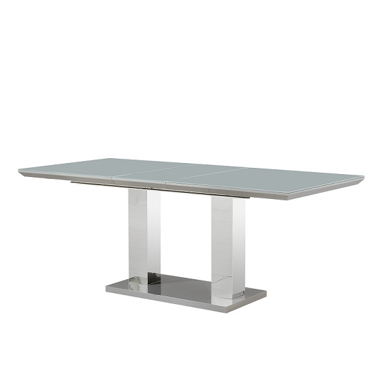 Monton Glass Extendable Dining Table With Grey High Gloss