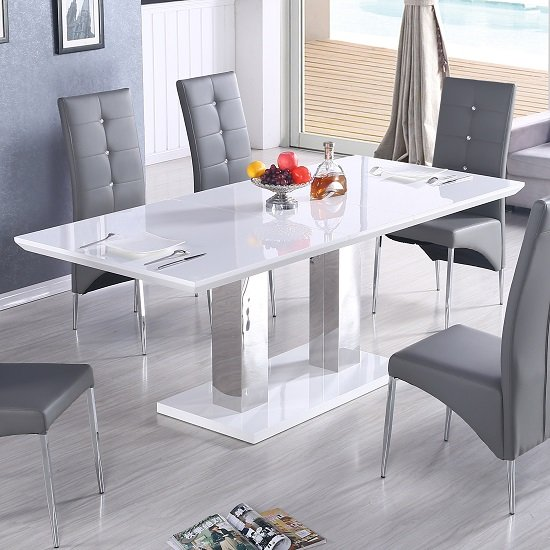 Monton Modern Extendable Dining Table In White High Gloss Only_2