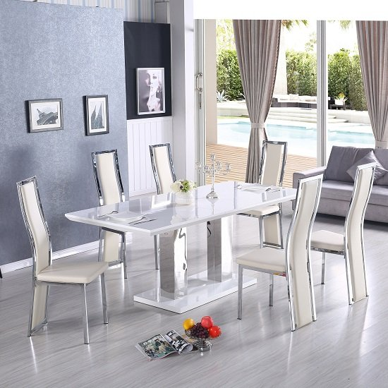 Monton Extending Large Dining Table White Gloss 8 Collette Chair_2