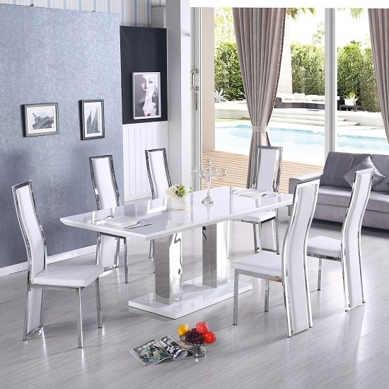 Monton Extendable Dining Set In White With 6 Collete White Chair