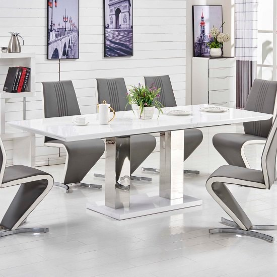Monton Extendable Dining Table Large In White High Gloss