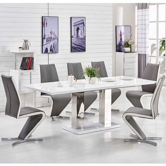 Monton Extending Large Dining Table White Gloss And 6 Gia Chairs