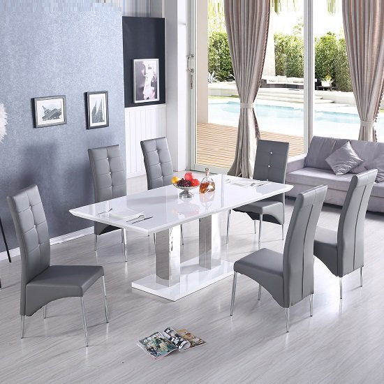 Monton Modern Extendable Dining Table In White High Gloss